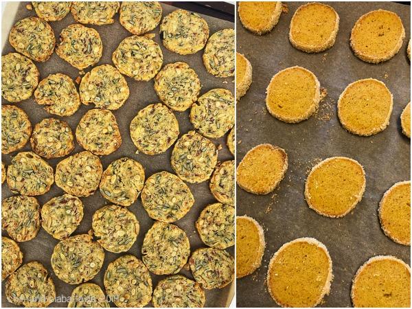 Kürbiskern-Speck-Cookies und Curry-Sablés