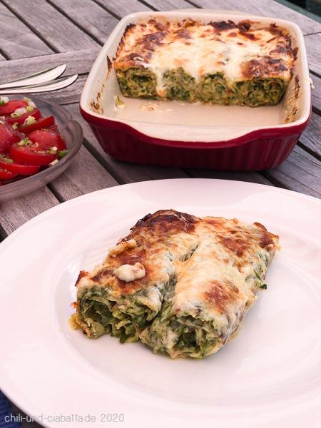 Kräuter-Crespelle mit Zucchini-Gorgonzola-Füllung