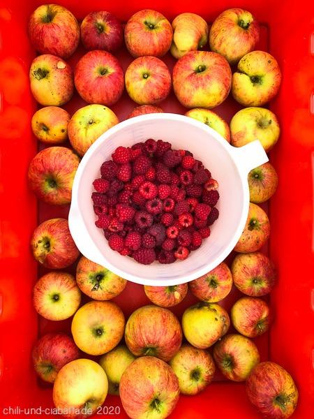 Äpfel und Himbeeren
