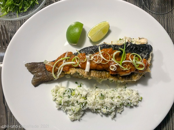 Rainbow trout with coconut rice and chili-tomato jam