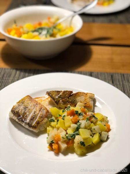 Zander mit Parmesan-Gemüse